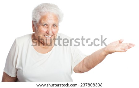 elderly woman holding anything on a white background - stock photo