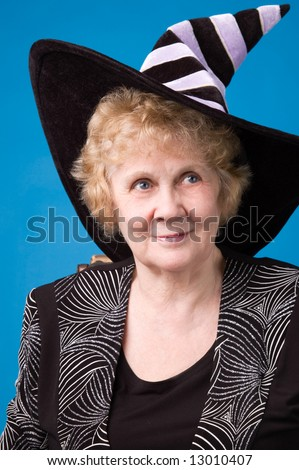 Elderly woman in witch's hat