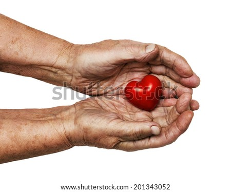 elderly woman keeping red heart in her palms isolated on white background, symbol of care and love - stock photo