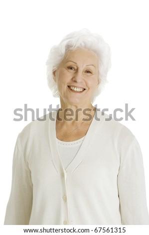 elderly woman smiling - stock photo