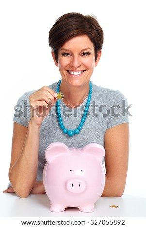 Elderly woman with piggy bank isolated white background - stock photo