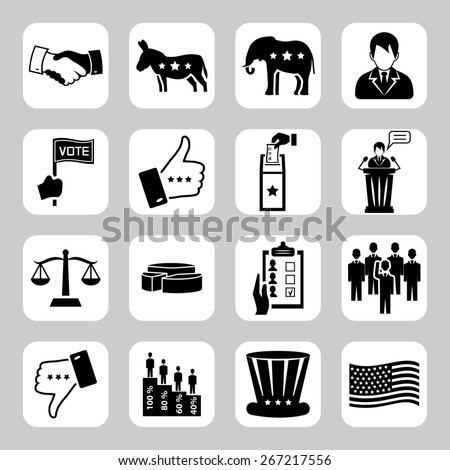 Election and voting  icon set - stock photo
