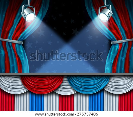 Election background or fourth of July design element with stage spot lights and curtains with blank space as a concept for patriotic celebration or campaigning for voters. - stock photo