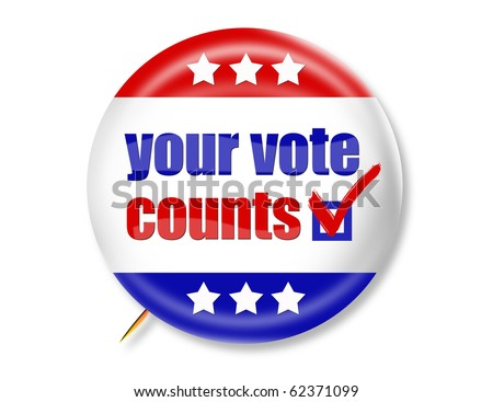 election buttons to encourage voting - stock photo