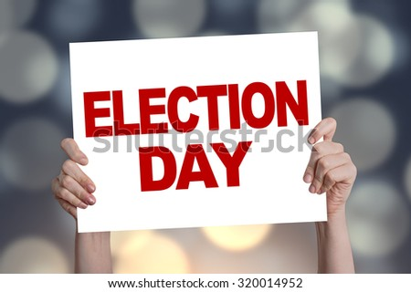 Election day card with bokeh background - stock photo