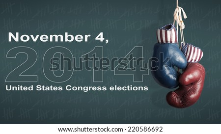 Election Day 2014 - Democrats and Republicans in the campaign - stock photo