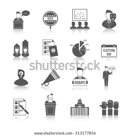 Election government politics democratic voting process icon set isolated  illustration - stock photo