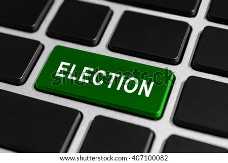 election green button on keyboard - stock photo