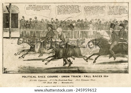 Election of 1836. Political cartoon of the 1836 presidential election as race between four candidate horses jockeyed by their political constituency. - stock photo