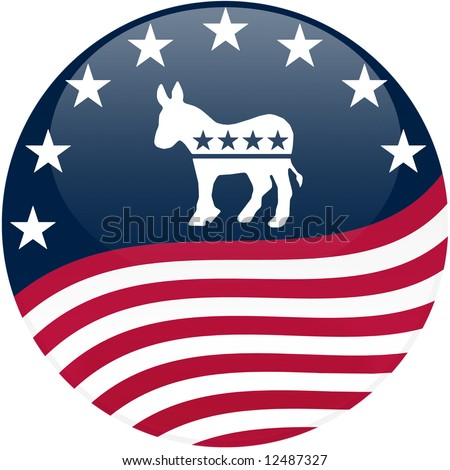 Election themed round button with 3d effect, Democrat logo with waving American flag - clipping path included - stock photo