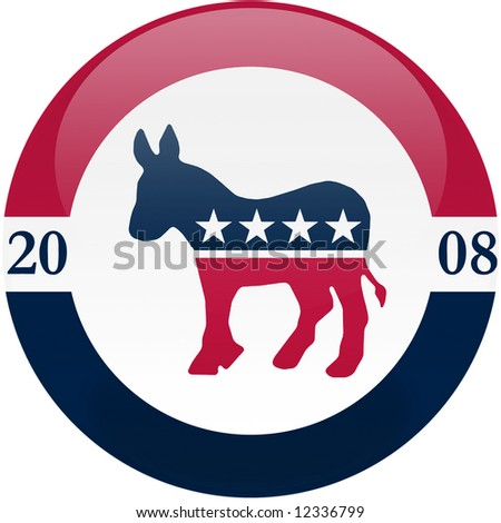 Election themed round button with 3d effect, Democratic party logo - clipping path included - stock photo