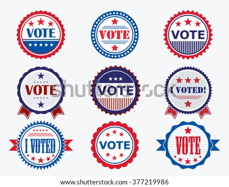 Election Voting Stickers and Badges in USA red, white and blue - stock photo