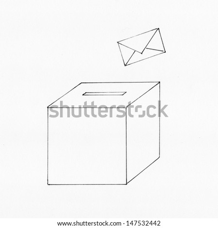 Election with envelope and ballot box - stock photo