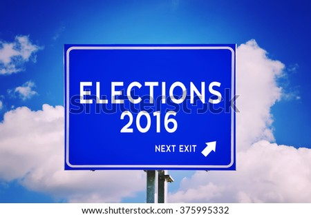 Elections 2016 blue road sign with cloud background - stock photo