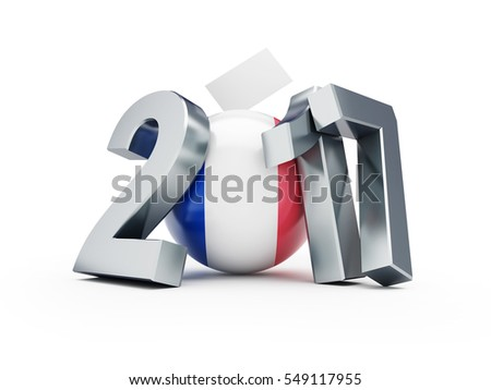Elections in France 2017 3d Illustrations on a white background