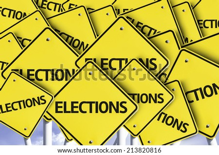 Elections written on multiple road sign  - stock photo