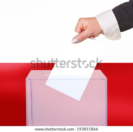 electoral vote by ballot, under the Poland flag - stock photo