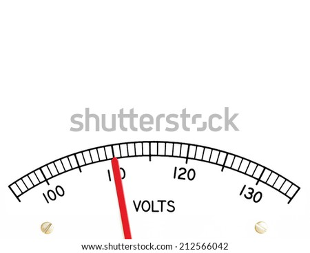 Electric analog voltage meter register indicating 110 alternating current volts - stock photo