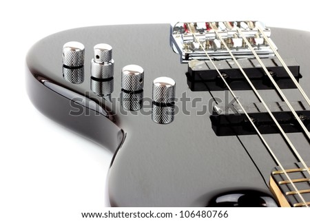 Electric Bass Guitar isolated on white background - stock photo