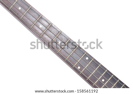 Electric Bass guitar neck isolated on white background, Music concept