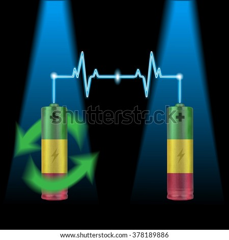 Electric battery energy charge  - stock photo