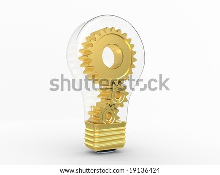 Electric bulb and gears inside. Object on a white background - stock photo
