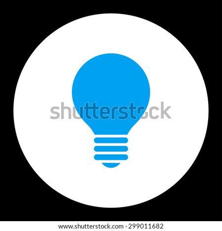 Electric Bulb icon from Primitive Round Buttons OverColor Set. This round flat button is drawn with blue and white colors on a black background. - stock photo