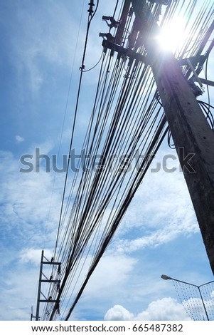 electric cable and blue sky
