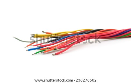 Electric cable ends, isolated on white. Colorful bundle of tinned copper electric cables. - stock photo