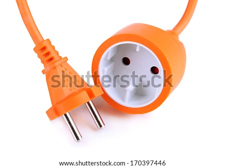 Electric cable isolated on white - stock photo