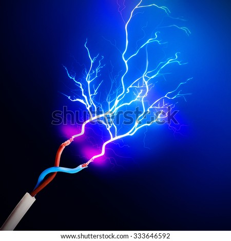 Electric cables with glowing electricity lightning, close up - stock photo