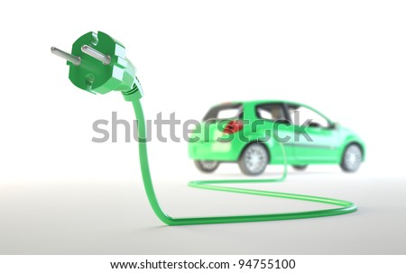 Electric car being plugged - EV transport concept - stock photo