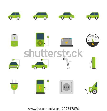 Electric car bus charging station and socket green flat color icon set isolated  illustration - stock photo