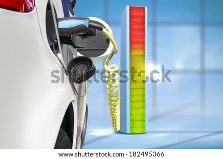 Electric car charging at charging  station - stock photo