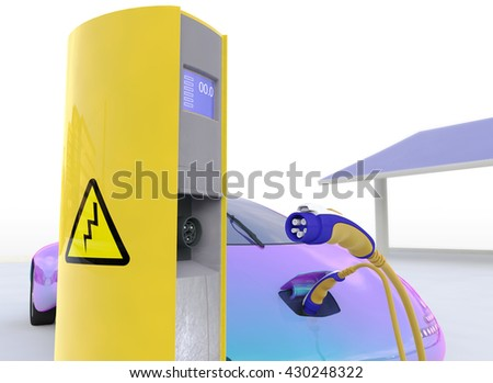 Electric Car Charging At The Charger Station, Eco car, Electric transport, Future car 3d concept, Electric car 3d render, Electric car transport, Electric car concept. - stock photo