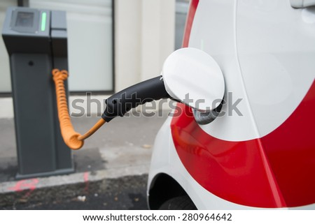 Electric car charging station - stock photo