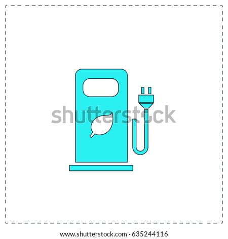 Electric car charging station or Bio fuel petrol. Blue simple pictogram with black stroke on white background. Flat icon illustration