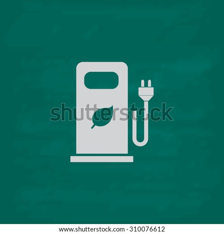 Electric car charging station or Bio fuel petrol.  Icon. Imitation draw with white chalk on green chalkboard. Flat Pictogram and School board background. Illustration symbol - stock photo