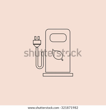 Electric car charging station or Bio fuel petrol. Outline icon. Simple flat pictogram on pink background - stock photo