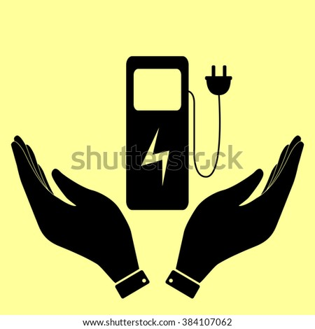 Electric car charging station sign. Flat style icon illustration. - stock photo
