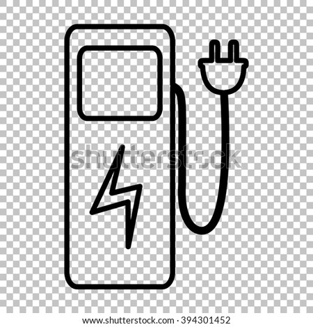 Electric car charging station sign. Line icon on transparent background - stock photo