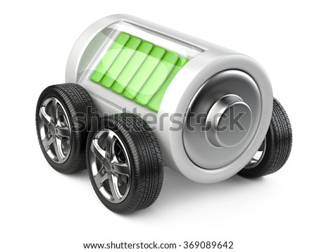 Electric car concept - battery on wheels with charge level . 3d image on a white background - stock photo