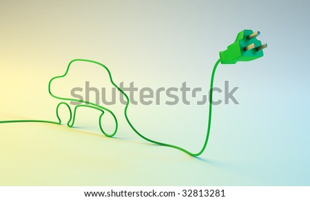 Electric car concept - electric plug with a car-shaped cord. - stock photo