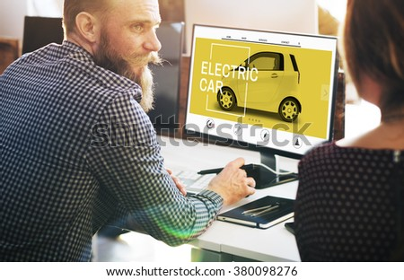 Electric Car Ecology Technology Save Energy Concept - stock photo