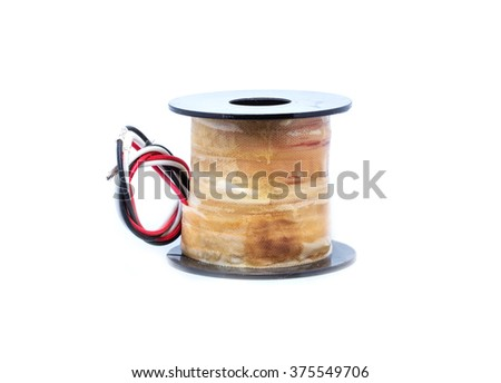 Electric coil of solenoid valve on white background - stock photo