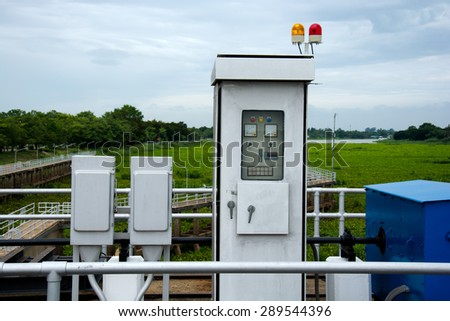 Electric control box of floodgate on the river