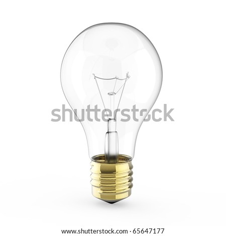 Electric 3d Light bulb isolated on white - stock photo
