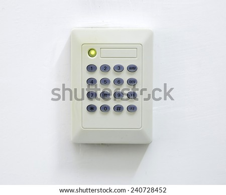 electric door lock, can be opened by security code - stock photo