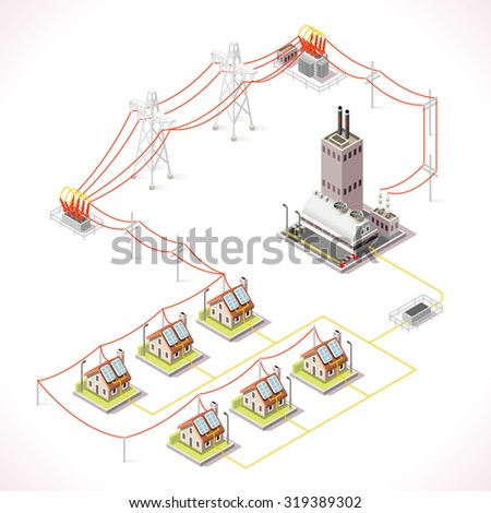 Electric Energy Distribution Chain Infographic Concept. Isometric 3d Electricity Grid Elements Power Grid Powerhouse Providing Electricity Supply to the City Buildings and Houses - stock photo