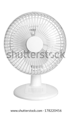 Electric Fan on White Background - stock photo